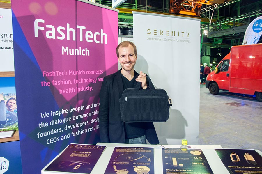 Serenity with smart fashion accessory technology wearable at FashTech exhibition